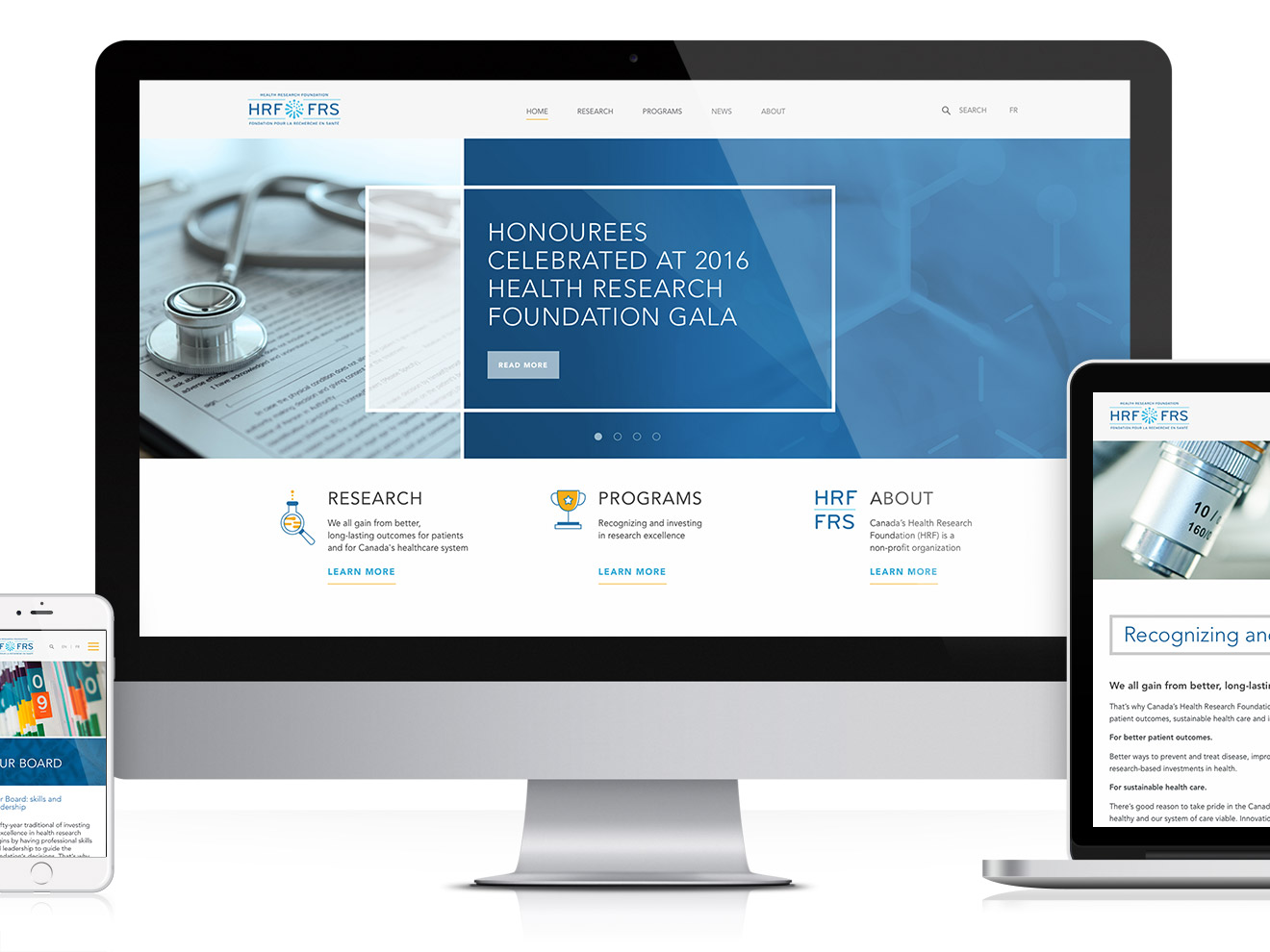 Health Research Foundation Website on multi-platform devices